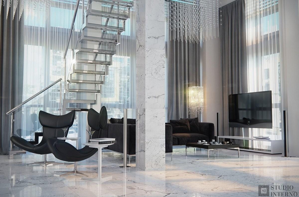 Современный минимализм с элементами арт-деко в дизайне двухуровневых апартаментов