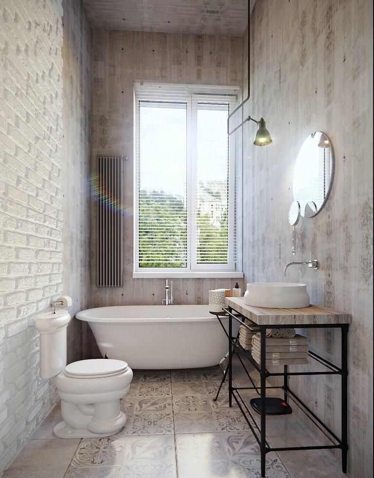 Серый интерьер небольшого санузла в стиле лофт